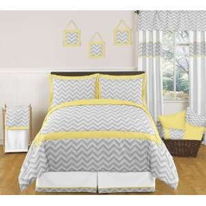 Yellow and Gray Zig Zag Childrens, Kids, Teen Bedding 3pc Full / Queen
