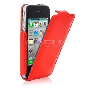 Ecell   RED LEATHER CLAM FLIP CASE COVER FOR APPLE iPHONE