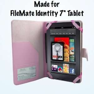 FileMate Identity 7 Tablet Pink Leather Executive Folio Case / Cover