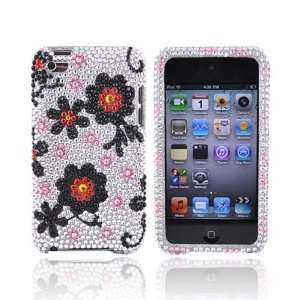 BLACK DAISY SILVER For iPod Touch 4 Bling Hard Case Electronics