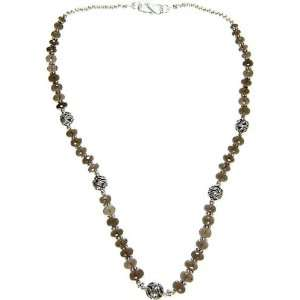 Faceted Smoky Quartz Necklace   Sterling Silver