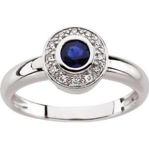14 Karat White Gold Round Blue Sapphire & Diamond Ring