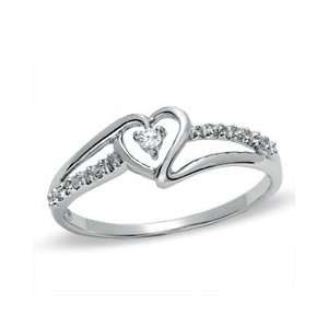 Diamond Accent Solitaire Heart Ribbon Ring in 10K White Gold   Size 7