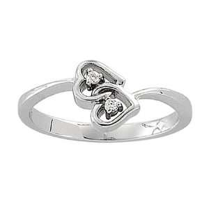 14K White Gold Diamond Double Heart Ring   Bypass Style