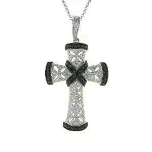 14k Gold White and Black Diamond Cross Pendant Necklace Jewelry