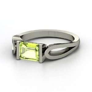 Loop de Loop Ring, Emerald Cut Peridot 14K White Gold Ring Jewelry