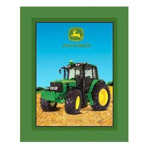 60 Wide Fleece John Deere Tractor Panel Green Fabric By