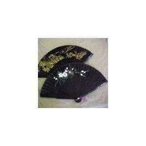 HAND PAINTED BLACK SILK FOLDING FAN 9