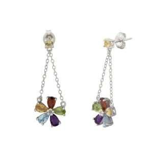 Plated Sterling Silver Multi Gemstones Flower Drop Earrings Jewelry