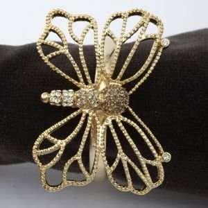 Lobjet Platinum And Gold Napkin Rings Gold Plated Butterfly