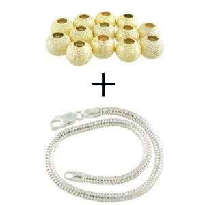 Silver Snake European Charm Bracelet PLUS 13 Gold Plate STARDUST Beads