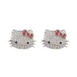 Hello Kitty DESIGNER STYLE Diamante Crystal & Rhinestone Pink Bow Stud