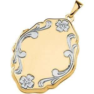 14K Yellow/White Gold 26.25X20.25 MM Two Tone Locket Jewelry