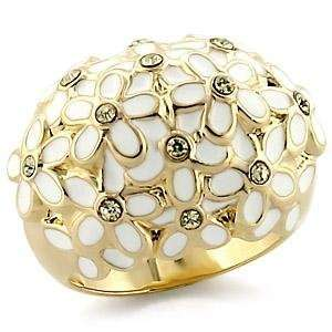 Gold Plated Brass White Ring with Clear CZ in the Center of Multiple