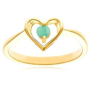 Yellow Gold Plated Sterling Silver Emerald Heart Ring, Size 6 Jewelry