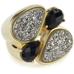 Moran Titanium Druzy and Black 18k Gold Plated Ring, Size 6 Jewelry