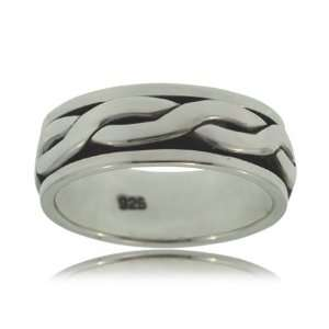 Gents Spinner Ring Sterling Silver Rope Bands New