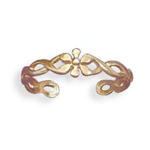Silverflake  14 Karat Gold Plated Flower Toe Ring Jewelry