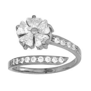 Channel Set Cubic Zirconia & Flower 14K White Gold Toe Ring Jewelry