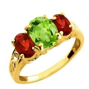 25 Ct Oval Green Peridot and Garnet Gold Plated Argentium Silver