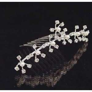 Kalina Crystal and Faux Pearl Flowers Hair Comb Beauty