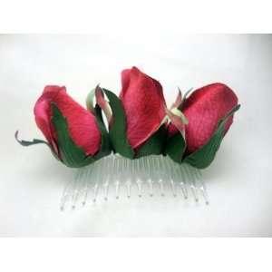 Dark Pink Rose Bud Hair Comb