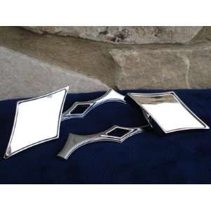 BILLET CHROME DIAMOND MIRROR SET WITH DIAMOND STEM FOR HARLEY DAVIDSON