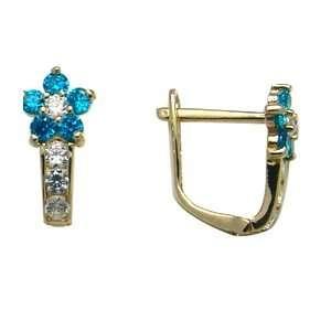 Aqua Blue   Flowering CZ Star 14k Yellow Gold Huggie Earrings Jewelry