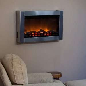 Wall Mounted Indoor Electric Fireplace   Stainless Steel