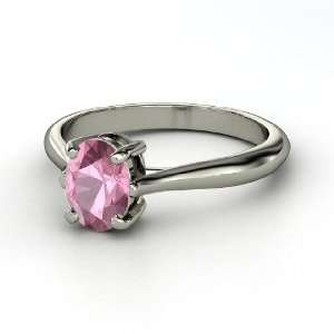 Oval Solitaire Ring, Oval Pink Tourmaline 14K White Gold Ring Jewelry