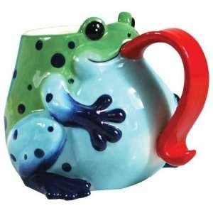 Body Coffee Mug with Curled Red Tongue Handle Design: Kitchen & Dining