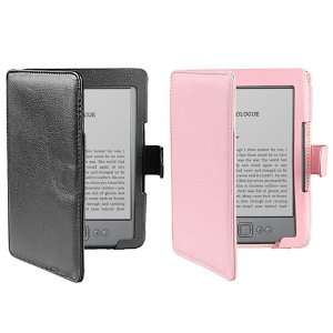 Black + Pink Leather Cover Case for  latest Generation Kindle