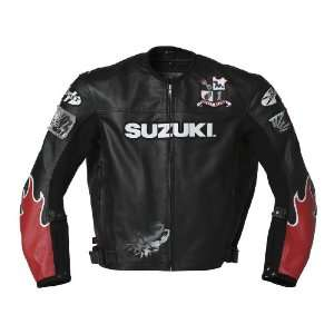 Suzuki Vertical Mens Leather Motorcycle Jacket Black/Red Extra Large
