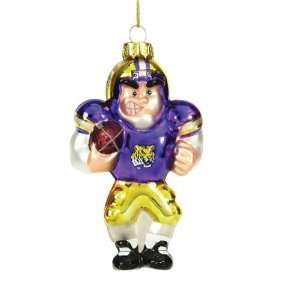 LSU Tigers Caucasian Player Mouth Blown Glass Christmas Ornament Home