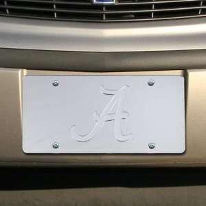 Crimson Tide Silver Mirrored Team Logo License Plate Automotive