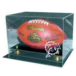 Football Display Case with Risers and Engraved NFL Team Logo Sports