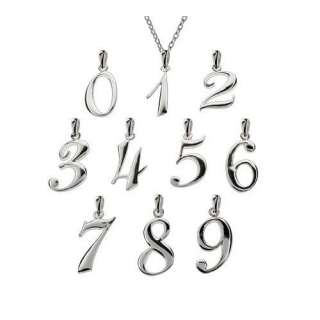 Eves Addiction Sterling Silver Lucky Number Pendants, Number 1