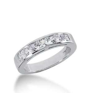 14k Gold Diamond Anniversary Wedding Ring 7 Princess Cut Diamonds 0.98