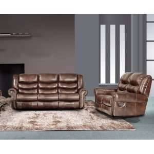 Leather Sofa & Loveseat & Chair Set with 5 Recliners