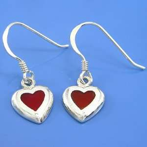 2.28 grams 925 Sterling Silver Inlaid Red Coral Earring