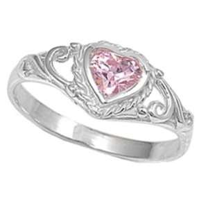 Sterling Silver Heart Birthstone Ring / Pink (5) Jewelry