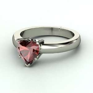 One Heart Ring, Heart Red Garnet 14K White Gold Ring Jewelry