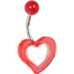 Red Mirror Heart Belly Ring Jewelry