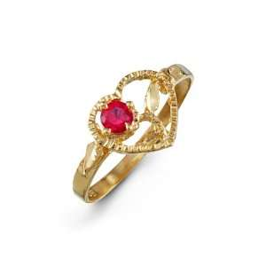 Womens Red Open Heart CZ 14k Yellow Gold Fashion Ring Jewelry