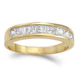 Cubic Zirconia 14k Yellow Gold Anniversary Ring, Size 7.5 Jewel Roses