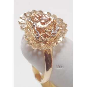 14k Solid ladies ring multi color Gold with heart Jewelry
