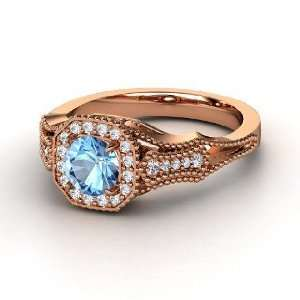 Ring, Round Blue Topaz 14K Rose Gold Ring with Diamond Jewelry
