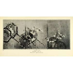 1935 Print Flower Carts Botanical Floral Japanese Art Screen Museum