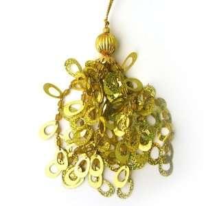 Oval Sequins Tassel/Ornament   Gold