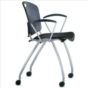 Chair [Set of 2] Frame Color Black, Plastic Shell Black Office